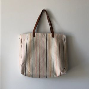 Madewell The Transport Tote in Rainbow Pinstripe